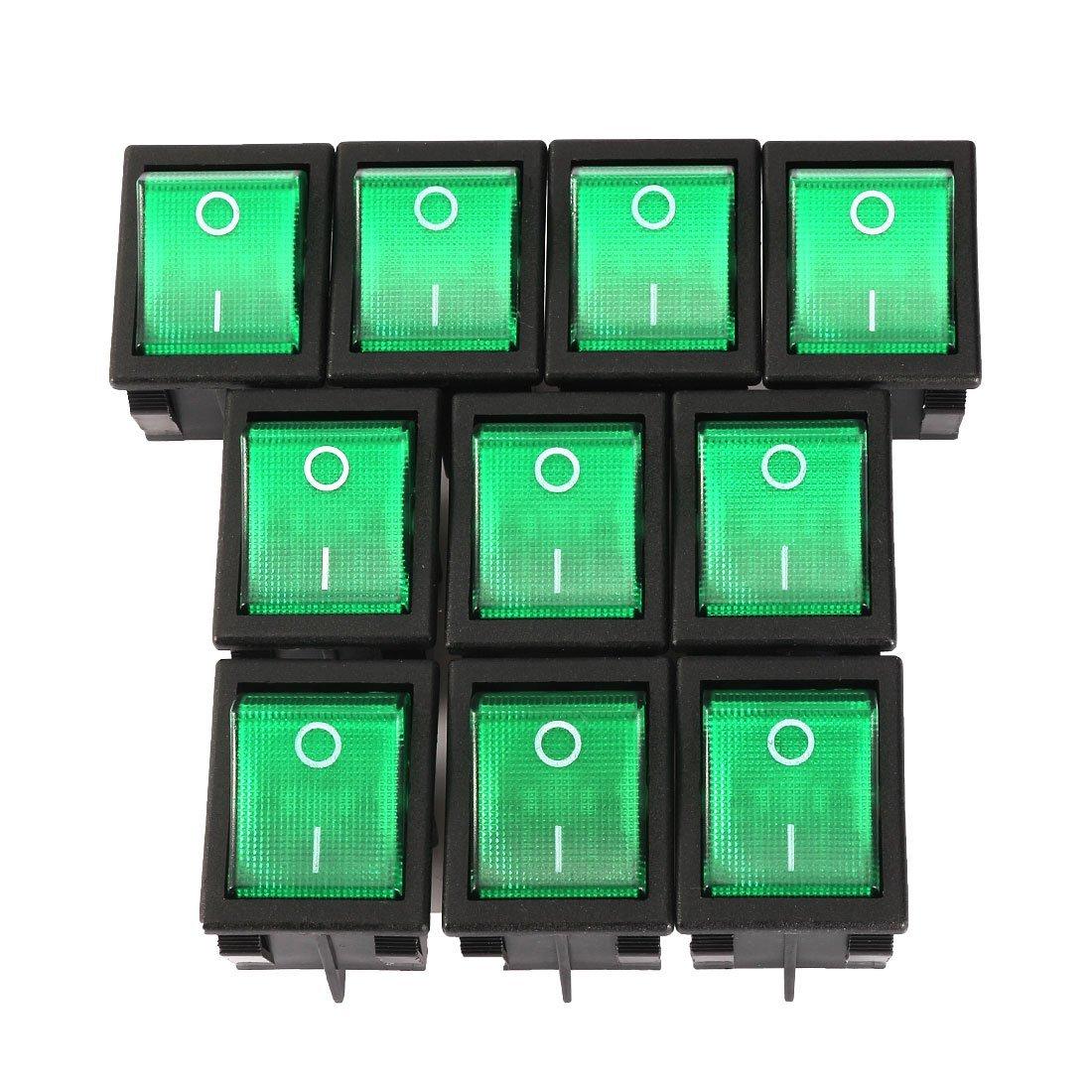 uxcell DPST 4 Terminal On//Off Green Backlit LED Light Boat Rocker Switch AC 20A//125V 22A//250V