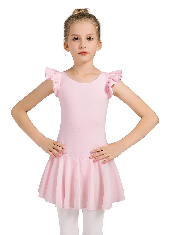Girls Dance Ballet Leotard Flying Short Sleeve Flowy Tutu Skirt Children Cotton Dress Dancewear
