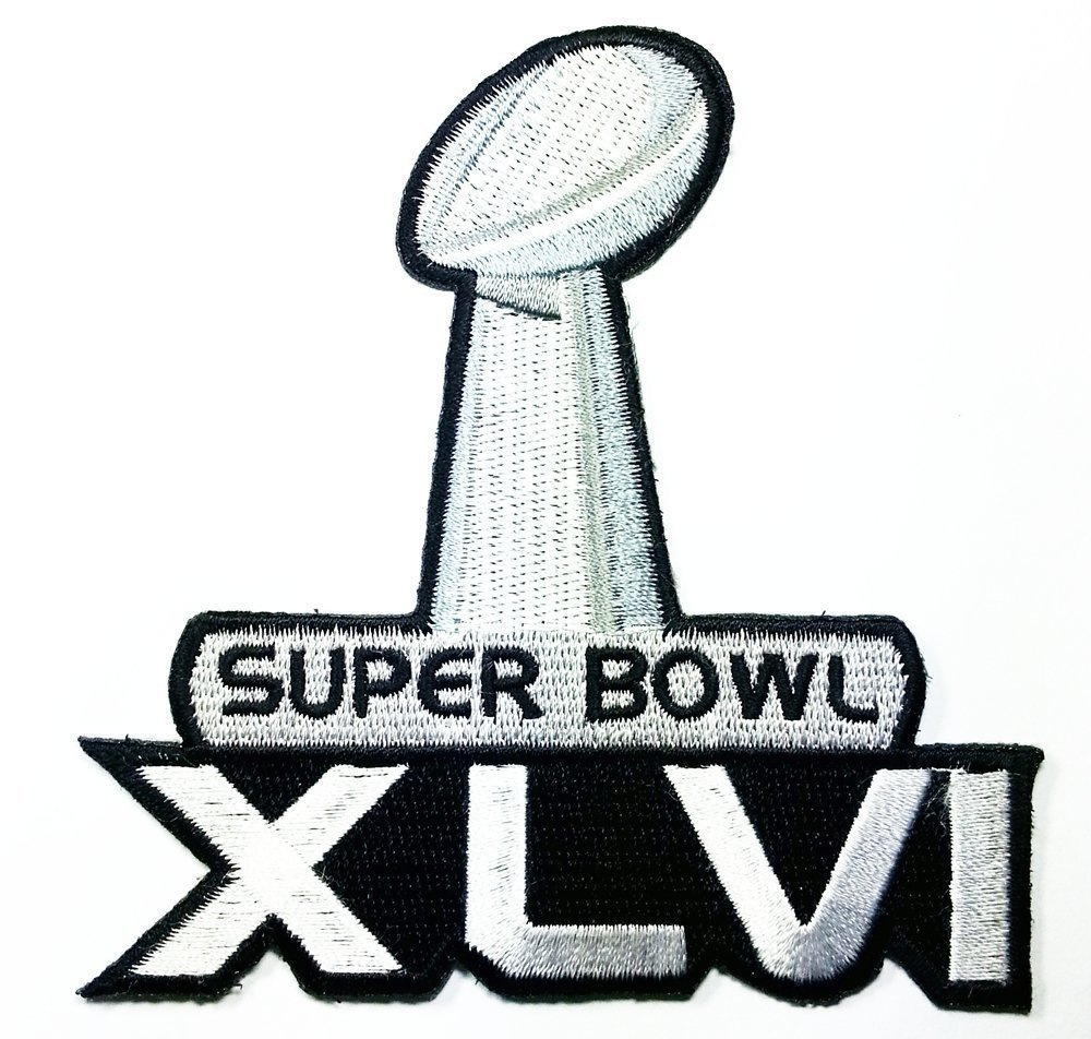 super bowl XLVI patch Embroidered Iron on Hat Jacket Hoodie Backpack Ideal for Gift/ 9.7cm(w) x 9.8cm(h) by Think Patch sport   B00LJ78FNW