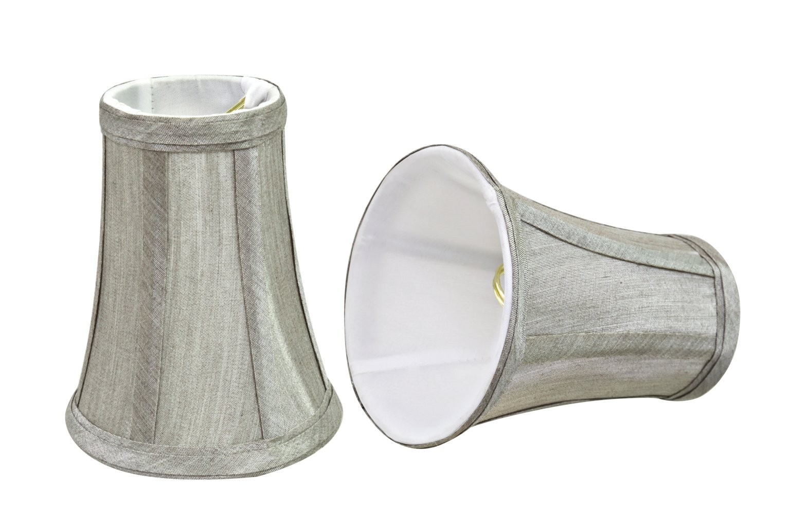 Aspen Creative 30246-2 Small Bell Shape Chandelier Clip-on Lamp Shade Set with Transitional Design 4'' Bottom Width (2 1) (2 Pack), 2 1/2'' x 4'' x 5'', Silver-Grey