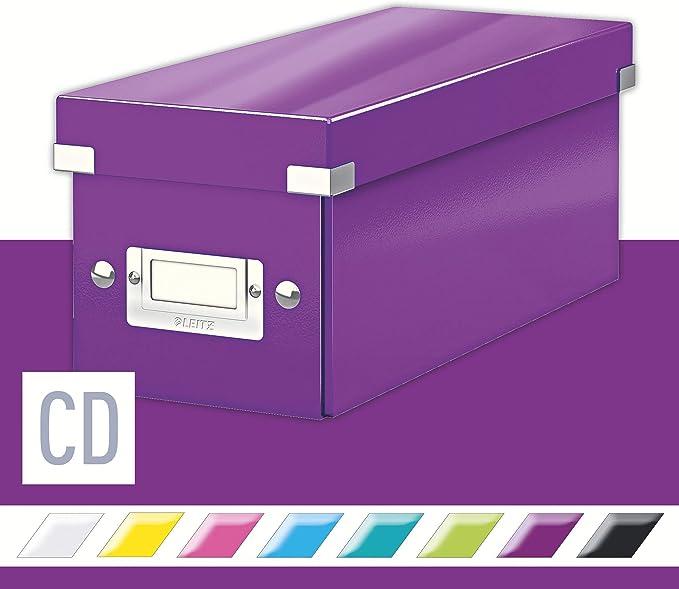 Leitz Caja para guardar CD, Púrpura, Click and Store, 60410062: Amazon.es: Oficina y papelería