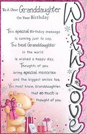 Granddaughter Birthday Card To A Special Granddaughter On Your