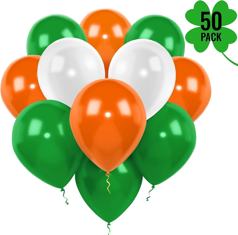 Sac de 15 vert orange blanc Irlandais Fête Ballons-St Patricks Jour Décoration