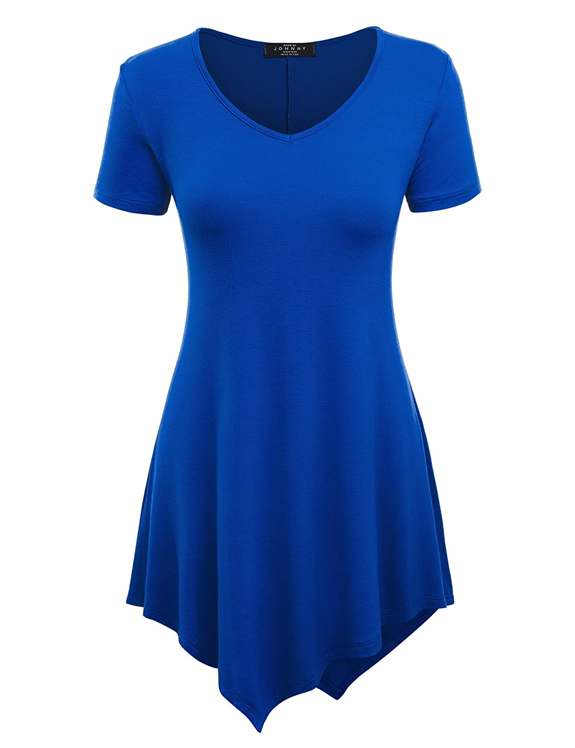 MBJ Womens Short Sleeve Various Hem Tunic Top - Made in USA MBJWT626