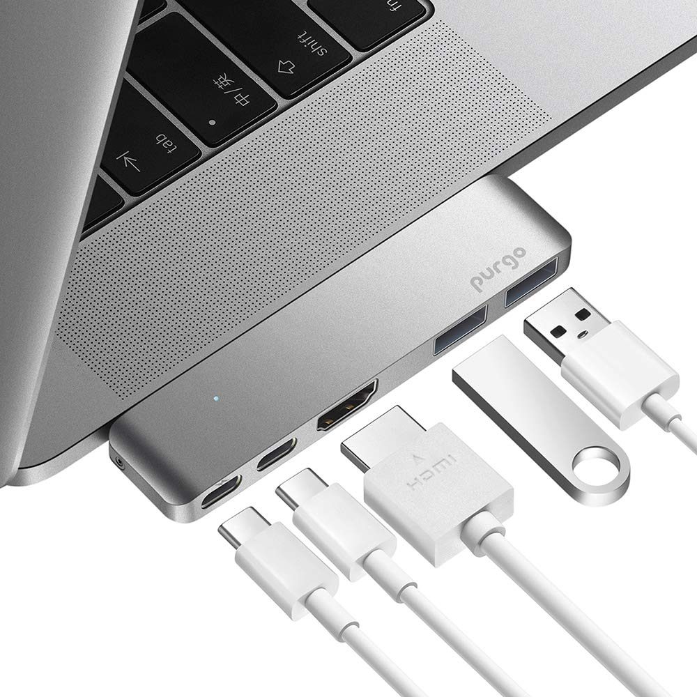 USB C Hub, Purgo Slim Aluminum Thunderbolt 3 USB C Adapter Dongle with 4K HDMI, 40 Gbps TB3 5K@60Hz, 100W Power Delivery and 2 USB 3.1 Ports for 2016/2017 MacBook Pro 13'' and 15''(Space Grey)