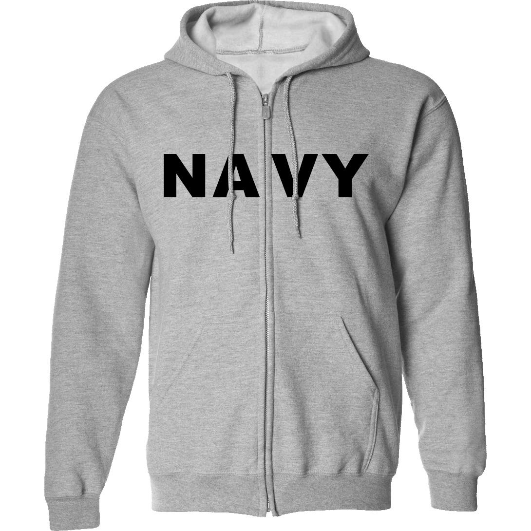 Navy Full-Zip Hooded Sweatshirt in Gray