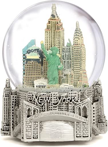 Silver Musical New York City Snow Globe, 6 Inch NYC Snow Globes
