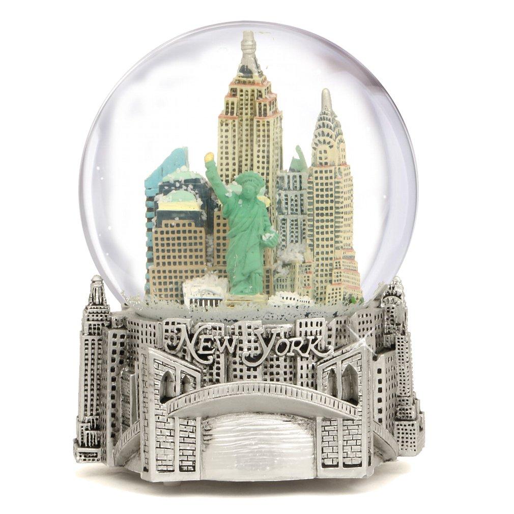 Silver Musical New York City Snow Globe, (6 Inch) NYC Snow Globes