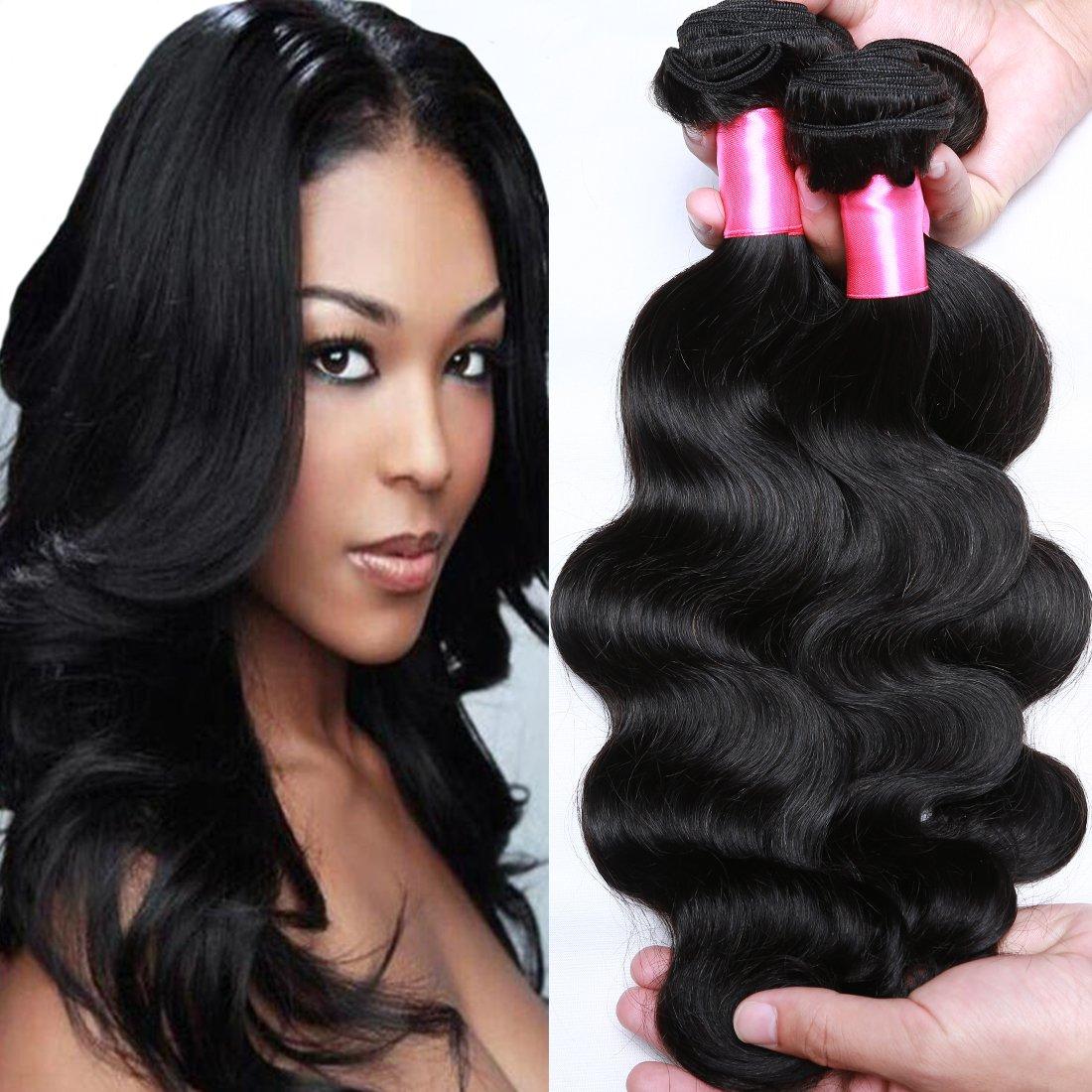 Cranberry Hair Brazilian Virgin Hair Body Wave Cheap Remy Human Hair 4 Bundles Weaves 100% Unprocessed Virgin Hair Bundles Extensions Natural Black Color(18'' 20'' 22'' 24'') by Cranberry Hair (Image #1)