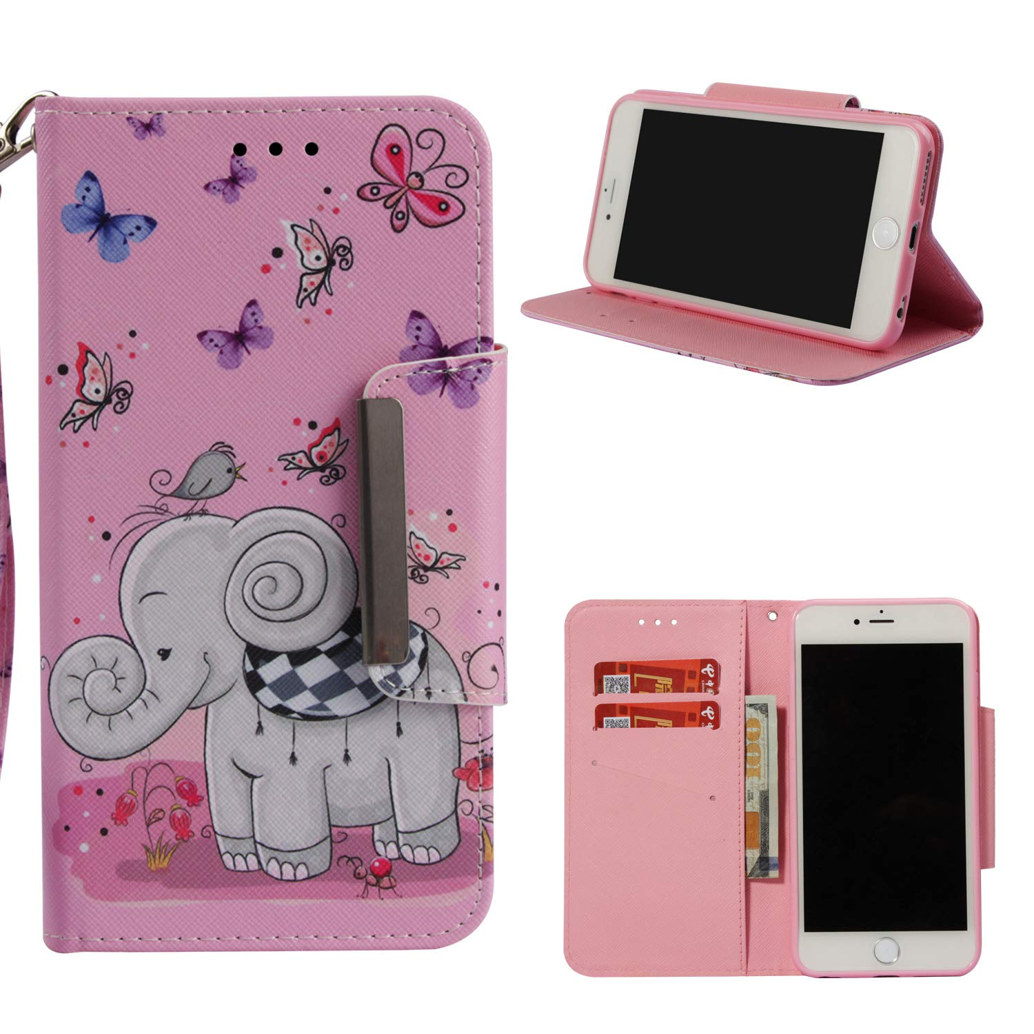 Leather Wallet Case for iPhone 6S/iPhone 6,Shinyzone Cute Cartoon Butterfly and Elephant Painted Pattern Flip Stand Case,Wristlet & Metal Magnetic Closure Protective Cover