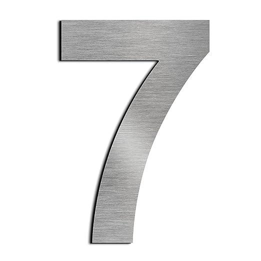 Cepillado número de casa 7 Siete -15.3 cm 6 in-made de sólido Acero inoxidable 304 flotante apariencia, fácil de instalar