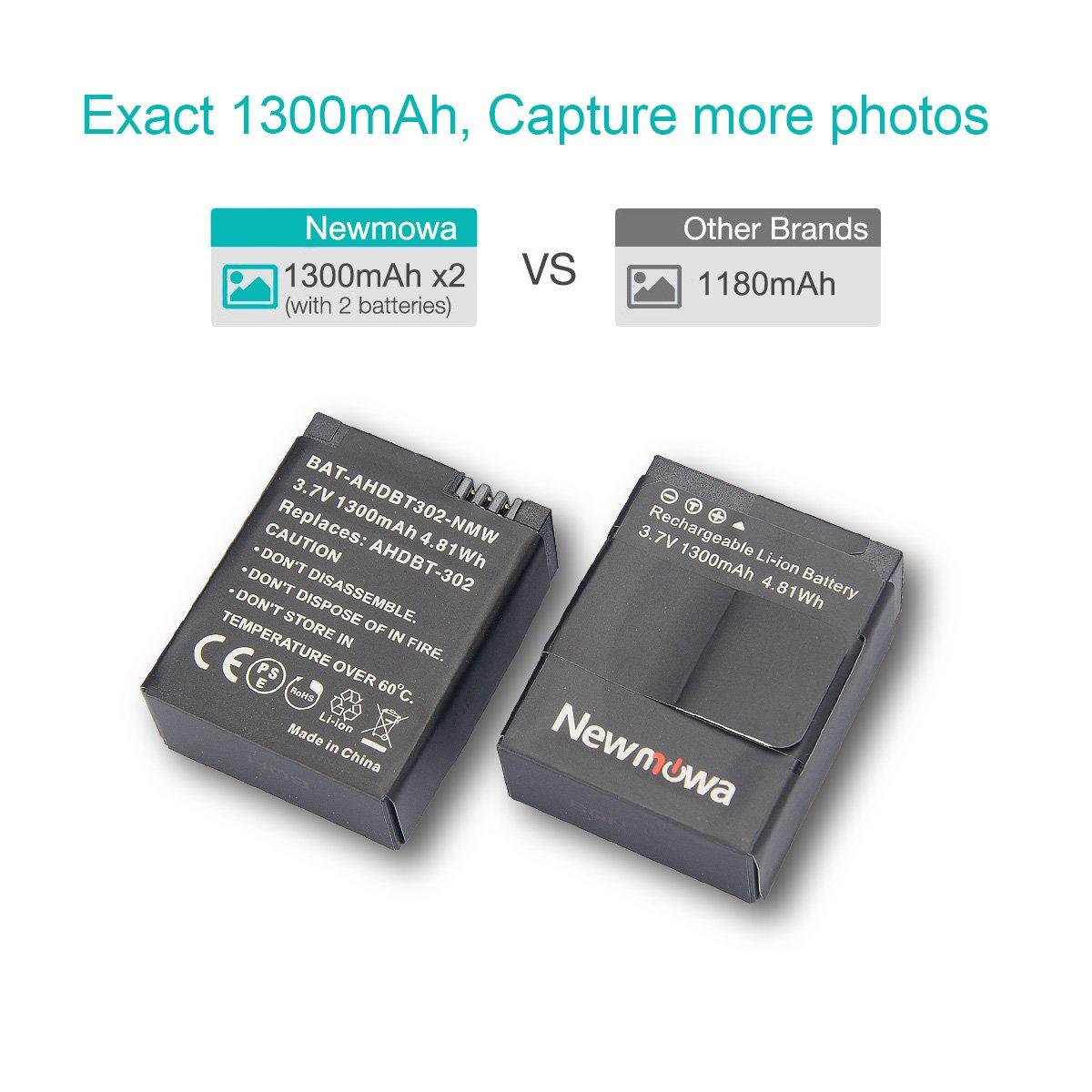 confezione da 2 and Rapid 3-Channel Caricatore per Gopro AHDBT-401 and Gopro Hero 4 Camera Newmowa 1200mAh Rechargeable AHDBT-401 Batteria