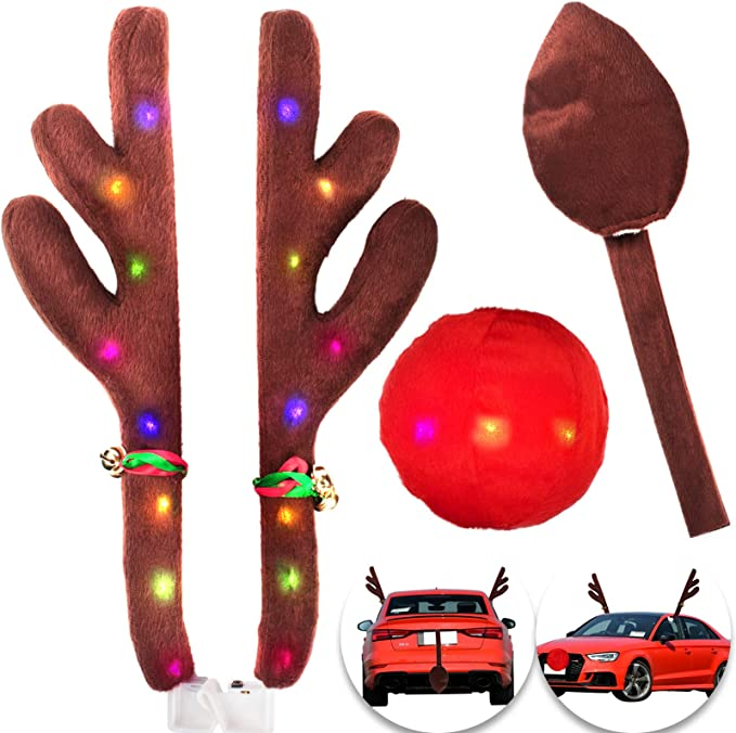 Christmas Car Decorations Reindeer Kit for Grille and Window Decoration Holoras Car Reindeer Antlers /& Nose
