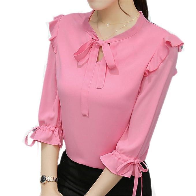 OUXIANGJU New Women Summer Chiffon Blouse Short Sleeve Office Shirts Female Ruffle Plus Size Tops at Amazon Womens Clothing store: