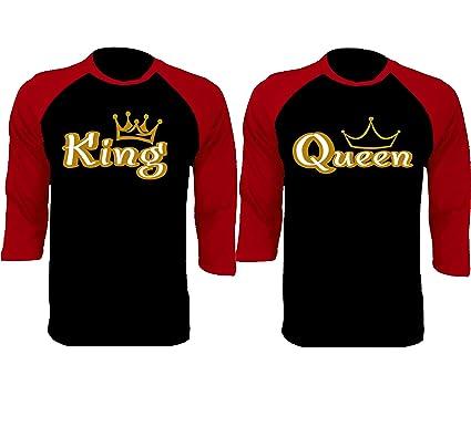 ce605a7670 Amazon.com: SR Gold King Queen Baseball Shirts Couple Matching Raglan 3/4  Sleeve T-Shirts: Clothing