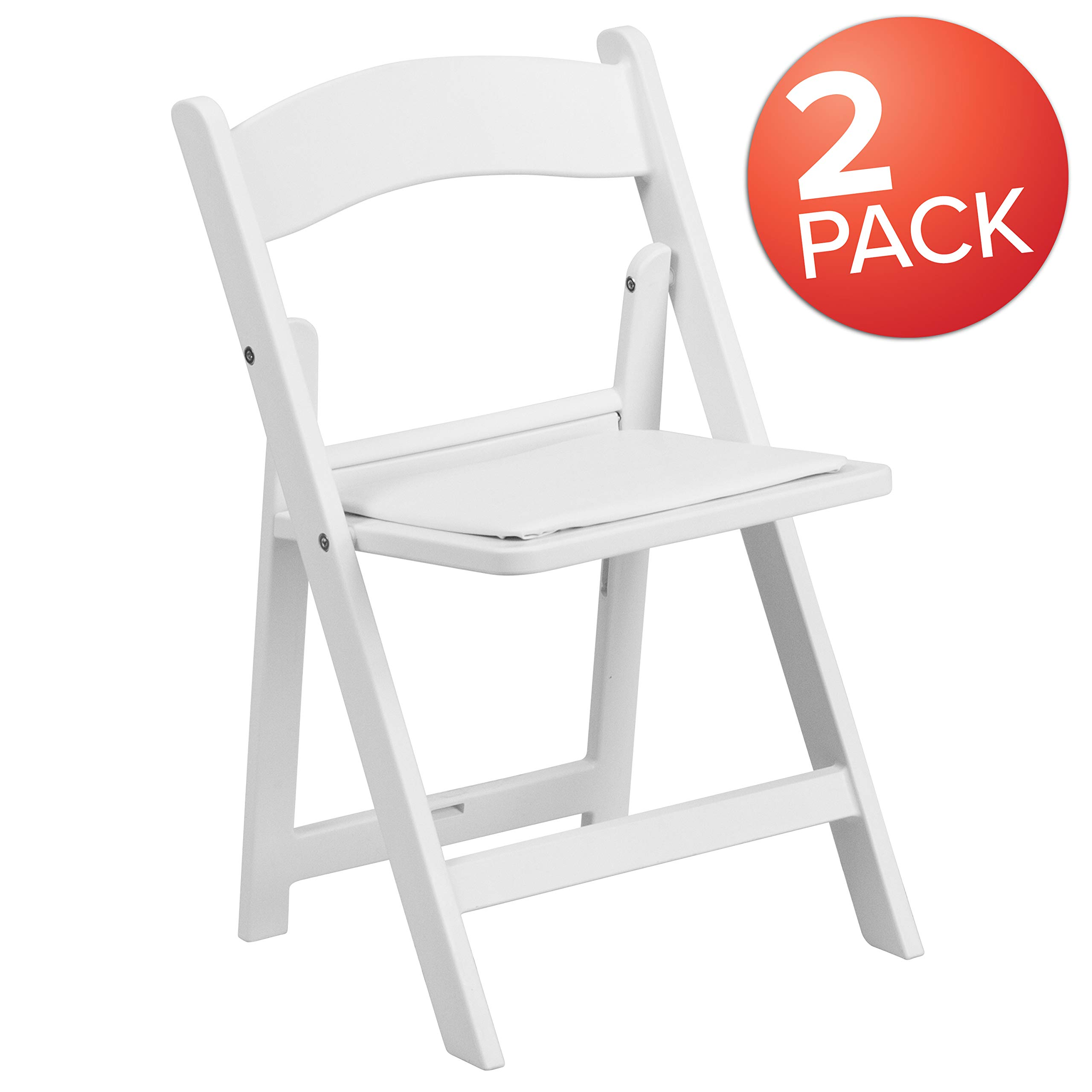 Flash Furniture Kids Folding Chairs with Padded Seats | Set of 2 White Resin Folding Chair with Vinyl Padded Seat for Kids by Flash Furniture