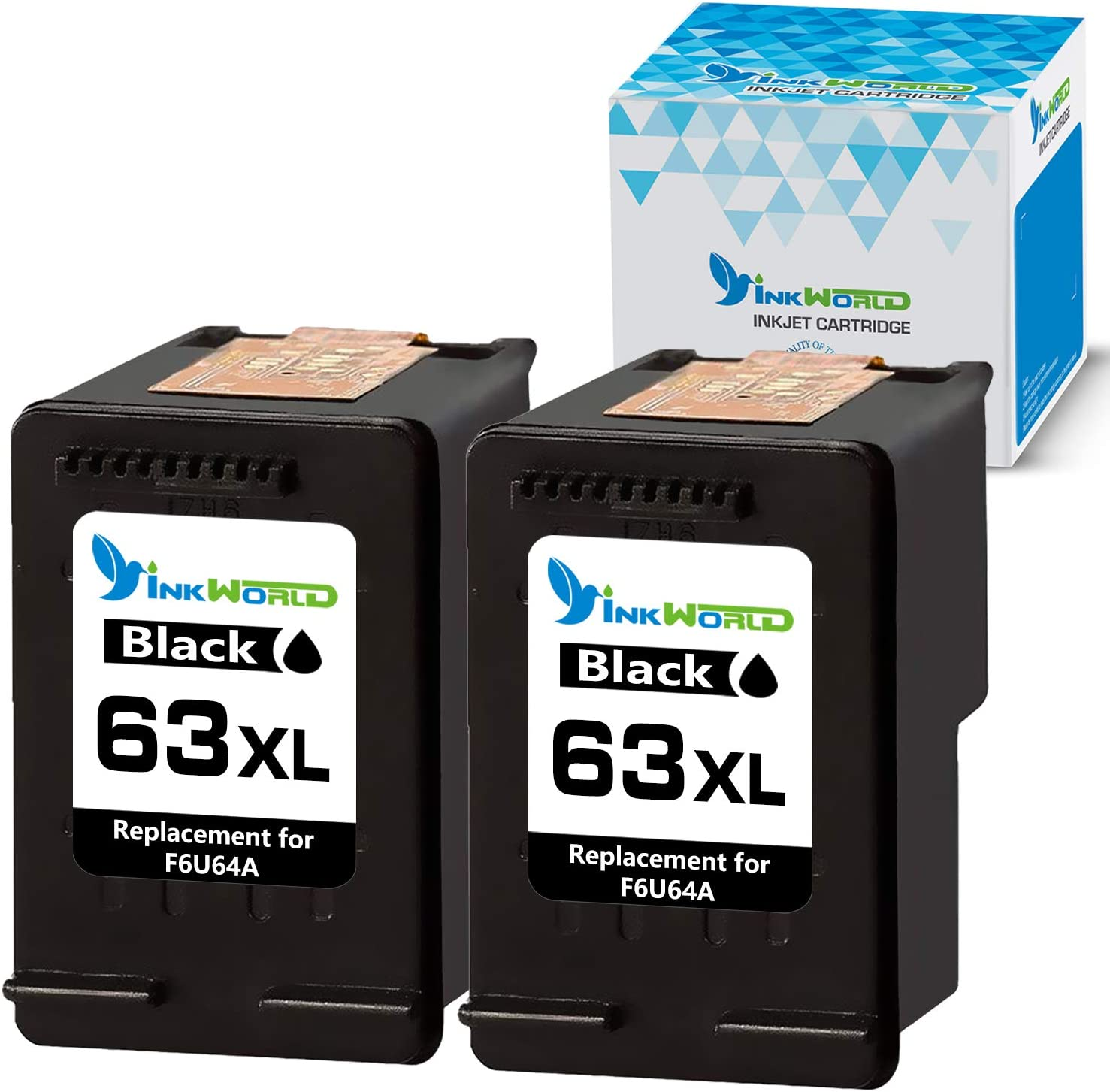 InkWorld Remanufactured Ink Cartridge Replacement for HP 63XL 63 XL to Use with Envy 4520 3634 OfficeJet 3830 5252 4650 5258 4655 4652 5255 DeskJet 3636 1111 3630 1112 3637 3632 Printer (2 Black)