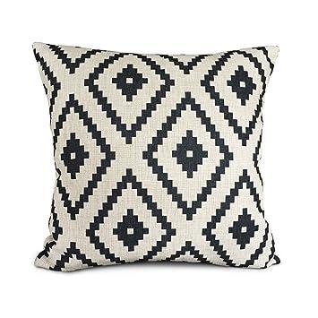AAA+A Uphome - Cojín con formas geométricas, blanco y negro, de poliéster, detalles decorativos, funda de almohada. Funda de cojín decorativa para ...