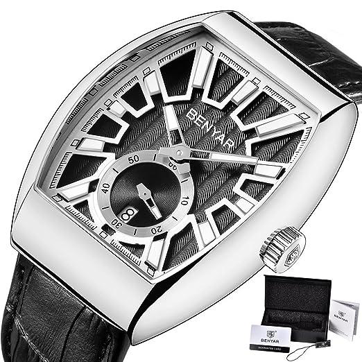 BENYAR Relojes para hombre de acero completo cuarzo analógico reloj de pulsera para hombres de lujo marca fecha negocios moda casual negocios vestido de ...