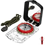 BIJIA Orienteering Map Compass -Sighting Mirror Compass with Adjustable Declination,Clinometer and LED light for Hiking, Camp