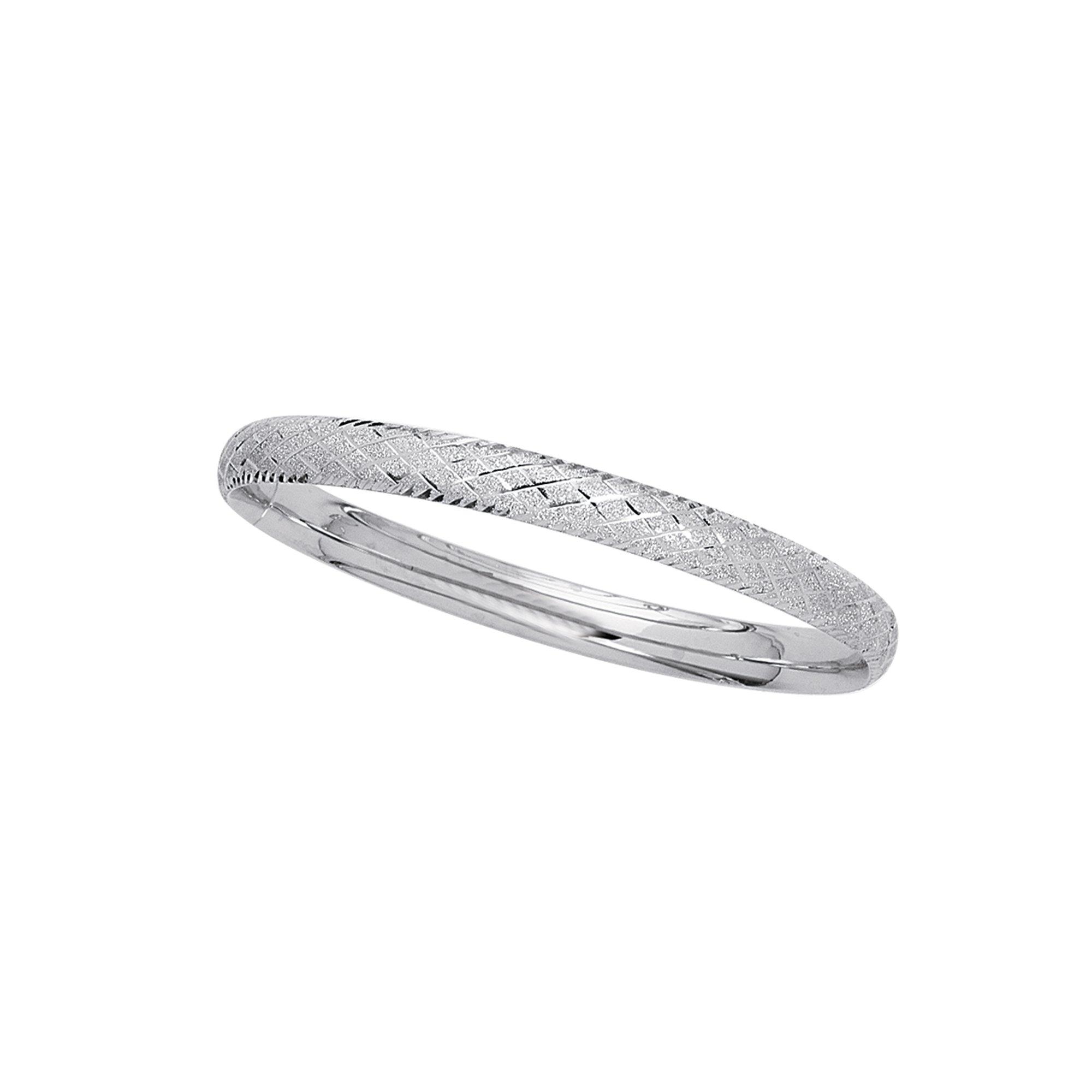 14K White Gold Shiny Textured Sparkle 6mm wide Bangle 7'' Bracelet Diamond shape Pattern with Claps
