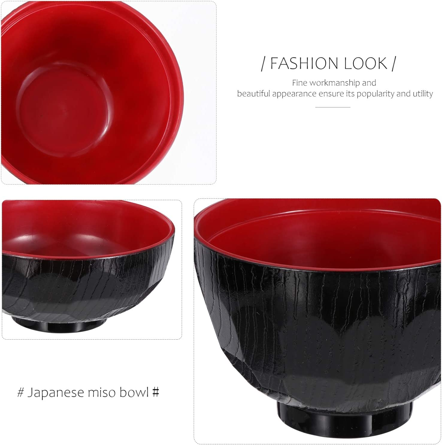 Cabilock Plastic Bowls with Lid Japanese Traditional Miso Soup Bowl Lacquer Bowl Rice Soup Bowl Home Kitchen Accessory