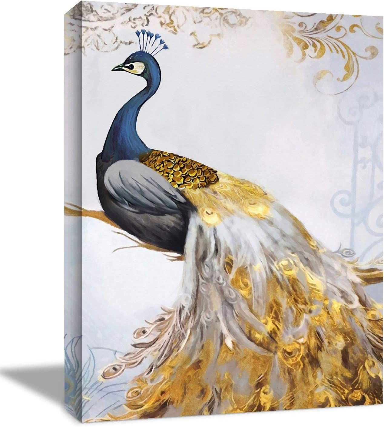 Looife Canvas Wall Art with Peacock Picture - 12x18 Inch Blue Peacock Yellow Tail Feather with Flowers Painting Artwork Giclee Prints Wall Decor for Living Room, Bedroom and Bathroom
