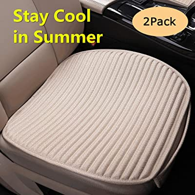 EifBrisa Seat Cushion for Cars, Against Leather Burn and Jeans Stain Non-Slip VentilatedCar Seat Pads for Passenger & Drivers Seat, Compatible with 99% Vehicles Easy to Install Seat Covers-2PC Beige: Automotive