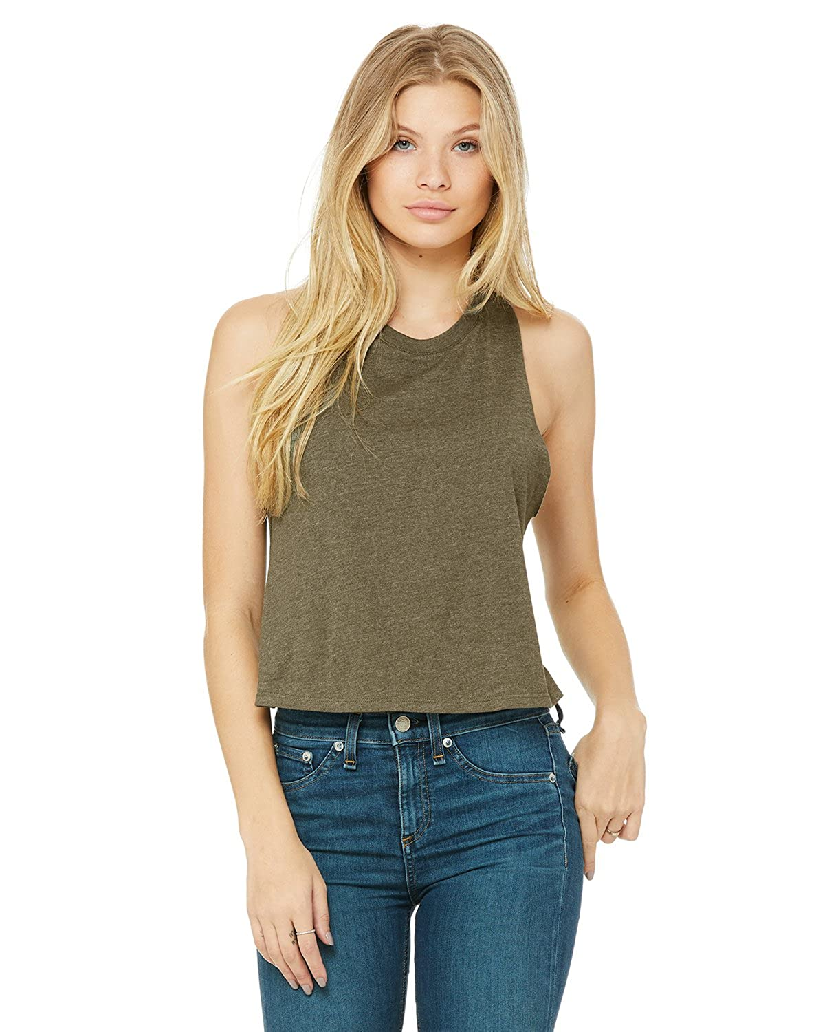 5b99b9f5c1ef45 Bella Canvas 6682 Women s Racerback Cropped Tank at Amazon Women s Clothing  store