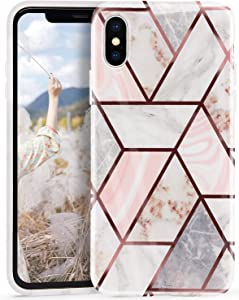 Seinvok iPhone Xs Case iPhone X Glitter Marble for Women Girls Bling Shiny Rose Gold Protective Phone Case Glossy TPU Bumper Soft Silicone Personalized Cover for iPhone X/Xs 5.8