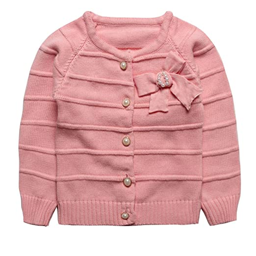 b78ae655460c Amazon.com  eTree Little Girls  Baby Cute Pearl Bow Buttons Cashmere ...