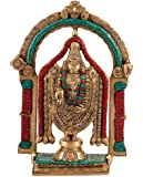 1.1 FT Tall Indian Hindu Tirupati Balaji Statue God Temple- Large Ritual Traditional Brass Turquoise Inlay Figure
