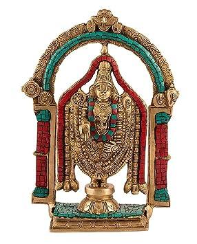 33,53 cm alto Indian Tirupati Balaji símbolo estatua de papel para pared con fotografía templo - tradicional latón incrustaciones turquesa tamaño grande ...