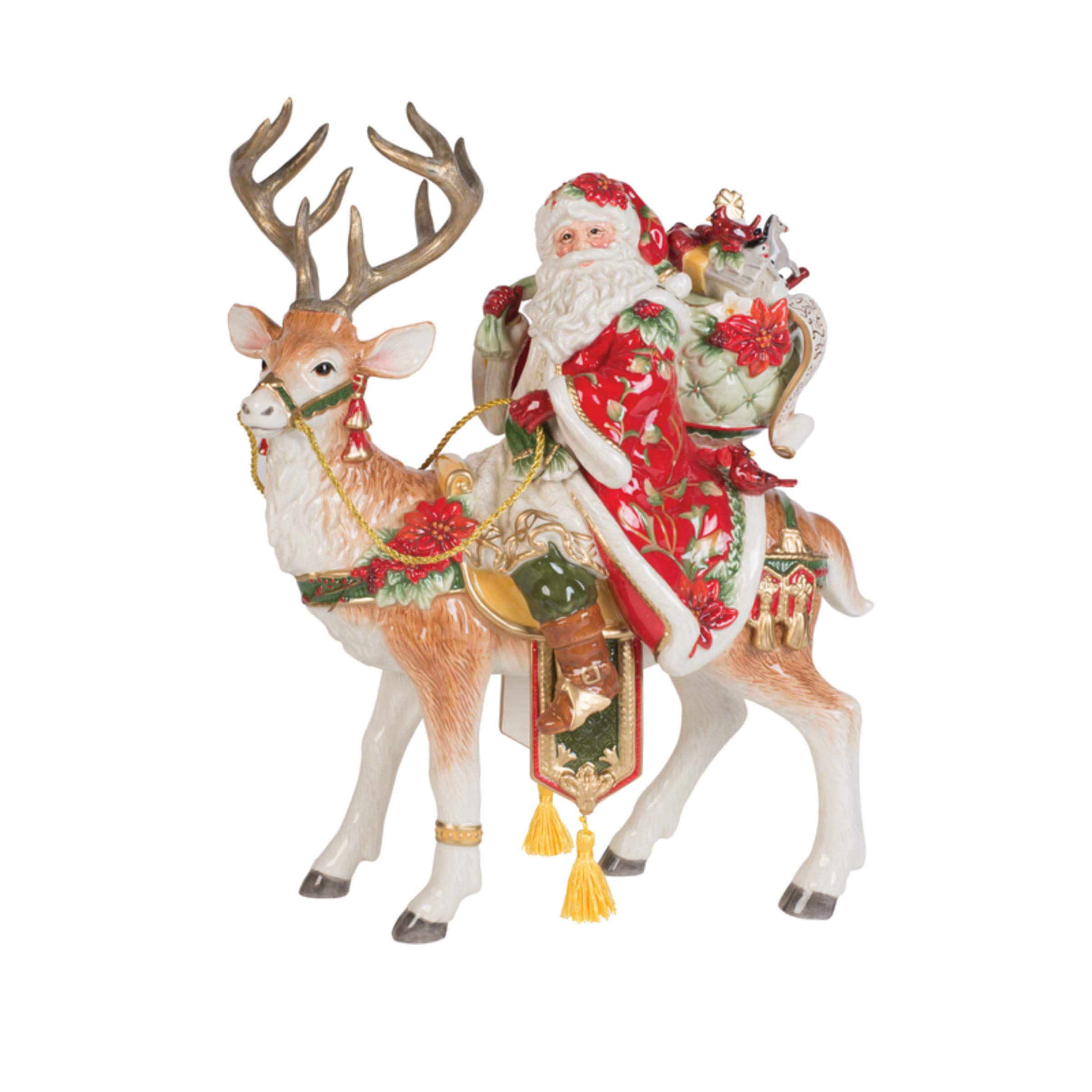 Fitz and Floyd Cardinal Christmas Santa and Stag Centerpiece 16-Inch Holiday Red