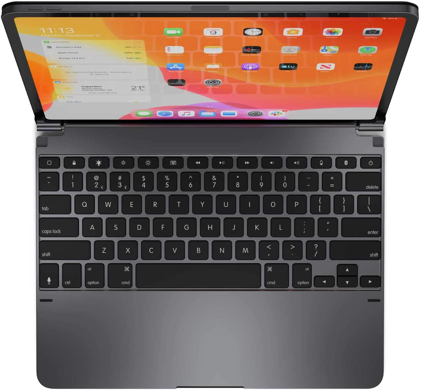 Brydge Pro 12.9 Keyboard for iPad Pro 12.9-inch 3rd Generation, 2018 Model Only | Aluminum Wireless Bluetooth Keyboard with Backlit Keys | Long Battery Life | (Space Gray)