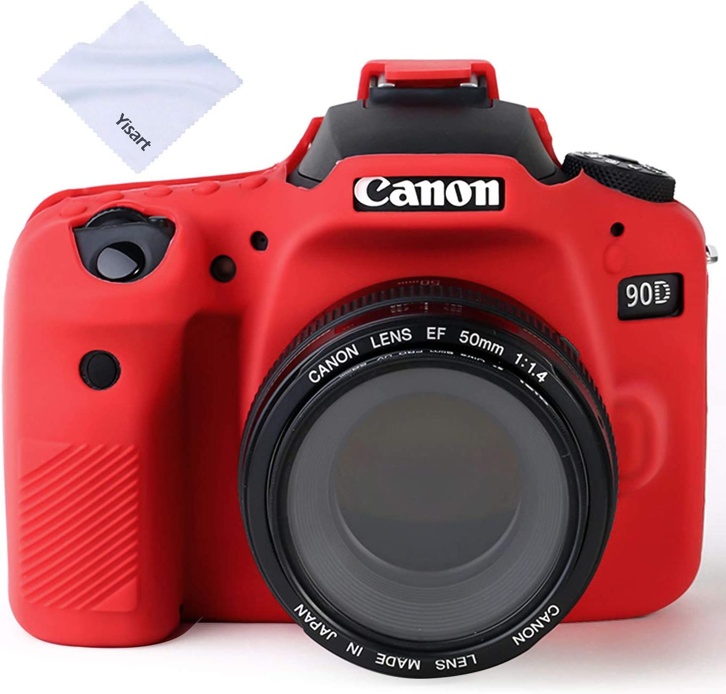 Yisau 90D Camera Case Professional Silicone Camera Case for Canon EOS 90D Camera Canon Rebel EOS 90D Camera Beautiful Companion (Red)