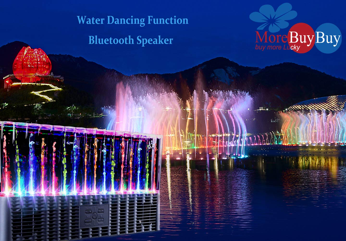 Water Speaker,Bluetooth Speakers with Colorful LED Night Light Show Powered Subwoofer Fountain Speaker on Desktop for for iPhone xR//xs,iPad,Samsung Android Cell Phones and Tablets Home Decorate