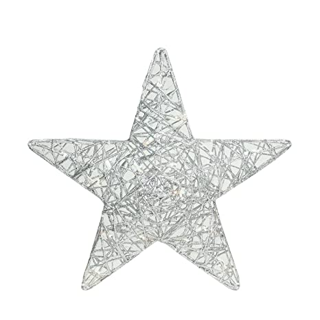 brite star 18 led lighted silver glitter 3d star hanging christmas yard art decoration