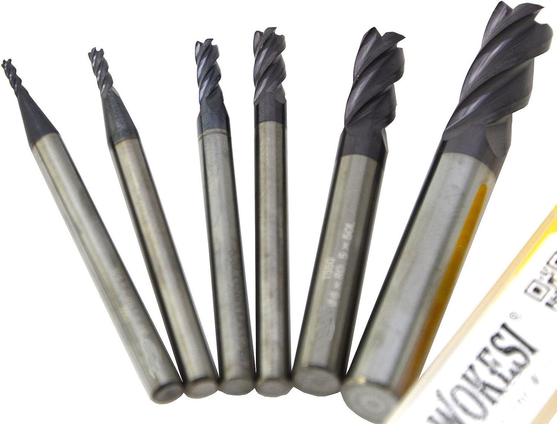 Dia 6mm HRC45 Tungsten Steel End Mill 3 Flute Tungsten CNC Tool Steel Cutter