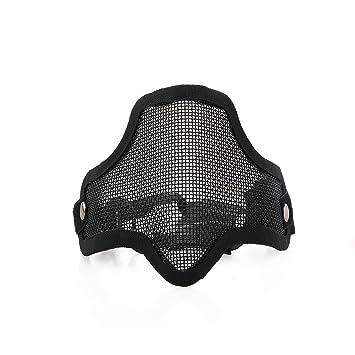 Tinksky CM01 al aire libre deportes táctico caza malla de Metal media cara máscara máscara de