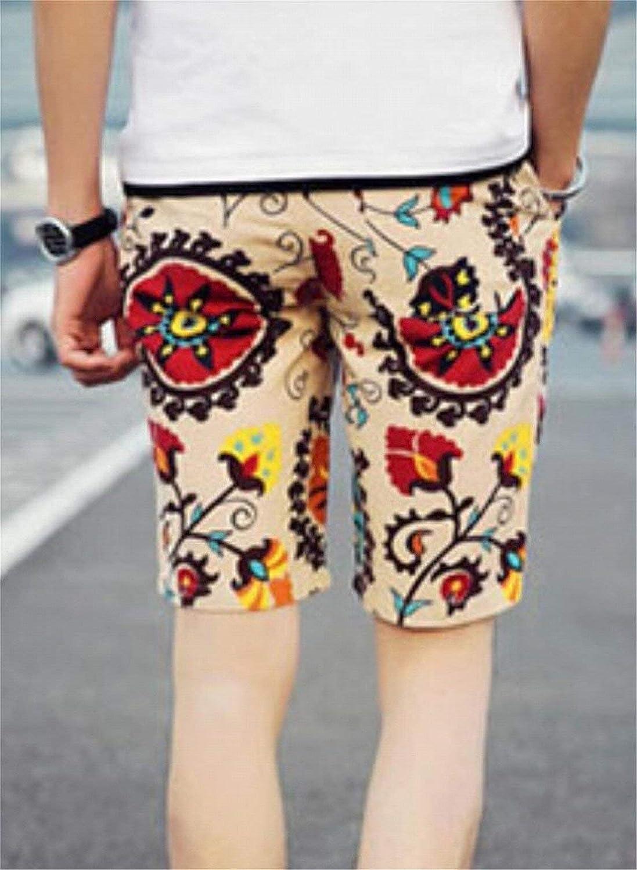 SELX-Men Casual Elastic Waist Drawstring Floral Print Shorts
