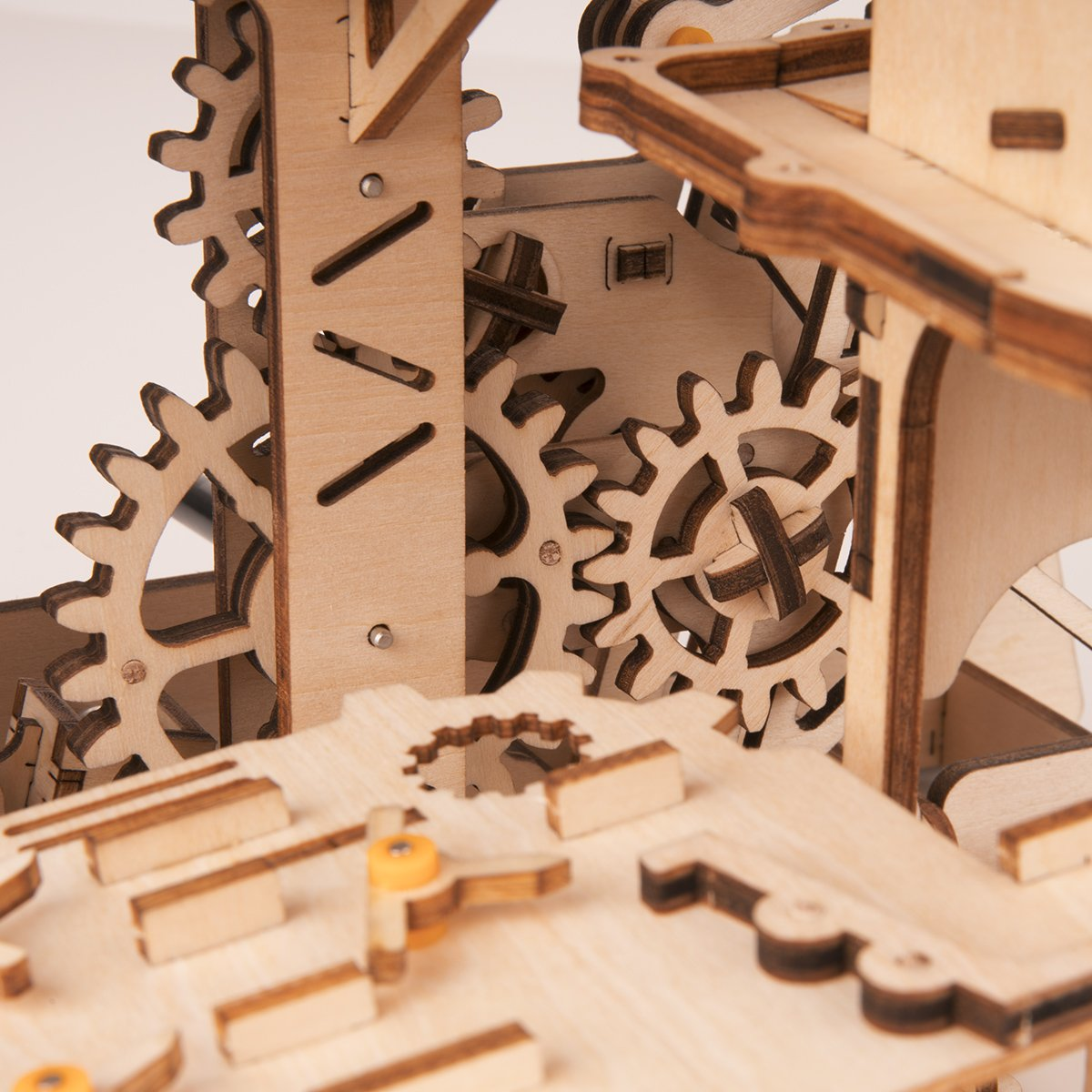 ROBOTIME 3D Wooden Puzzle Brain Teaser Toys Mechanical Gears Kit Unique Craft Kits Tower Coaster with Steel Balls Executive Desk Toys Best Gifts for Adults and Kids by ROBOTIME (Image #6)
