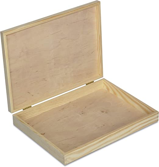 Creative Deco A4 Caja Madera para Decorar con Tapa | 34 x 25,3 x 5 ...