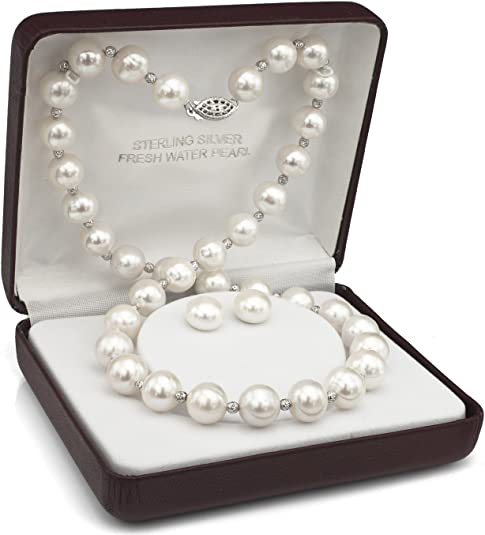 Vine necklace and earrings set with fresh water pearls and AAAA cz.s In silver or ose gold FREE domestic shipping!