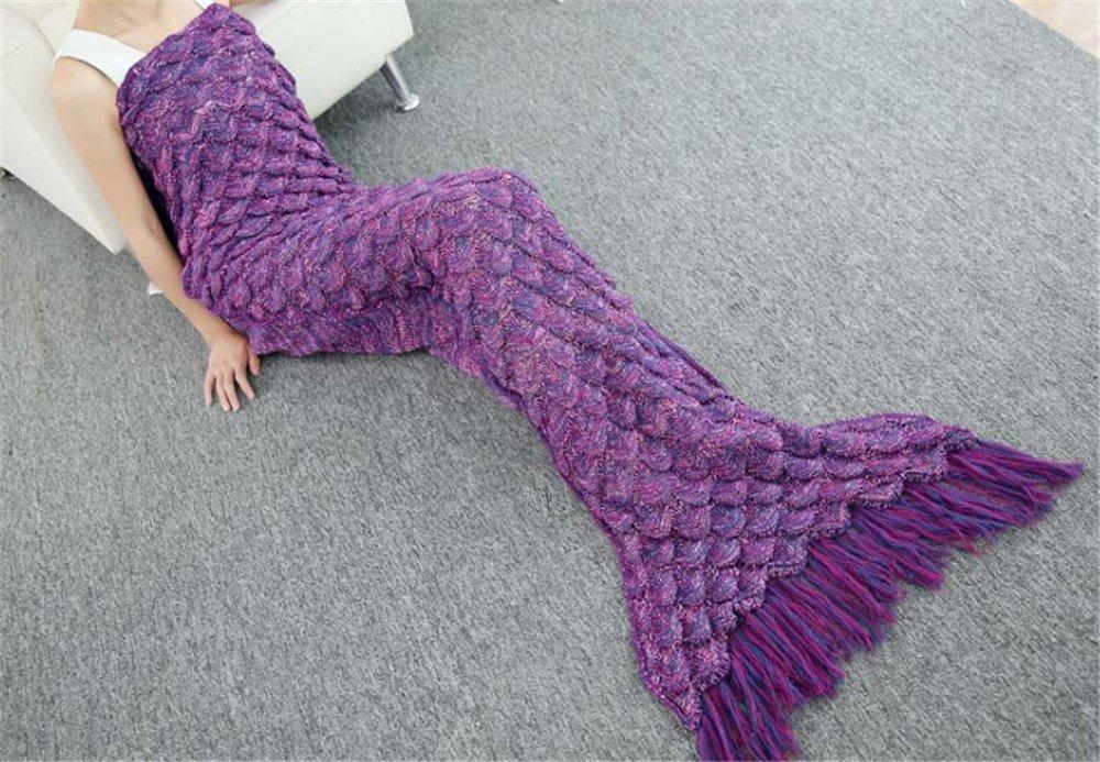 RAJ Mermaid Blanket with Scales and Tassels Adult Size Handmade Mermaid Tail Blanket Crochet Pattern Soft Sofa Quilt Purple, Large RACHELJP