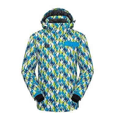 emansmoer Homme Imperméable Respirant Sport d hiver Veste de ski snowboard Outdoor  Coupe vent Capuche dc64b4d391eb