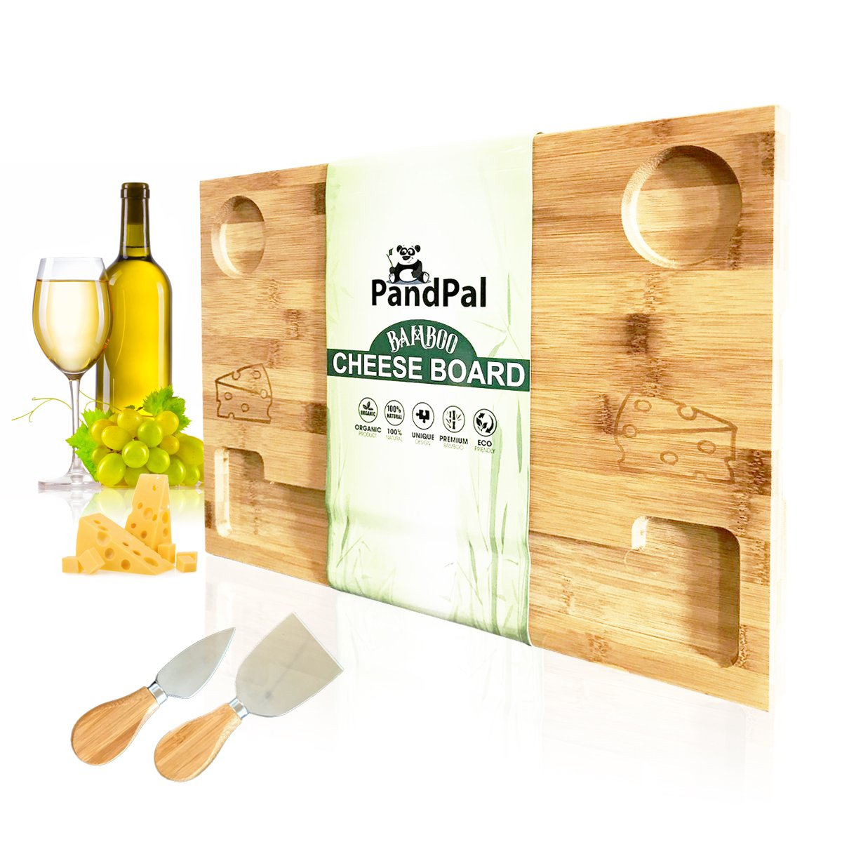Cheesy Smile Bamboo Cheese Board Serving Tray - Bonus Stainless Steel Knives, EXTRA LARGE [16x11x1] Wooden Cutting Board Charcuterie Platter for Wine, Cracker, Brie, Meat, Dip, Chip by PandPal