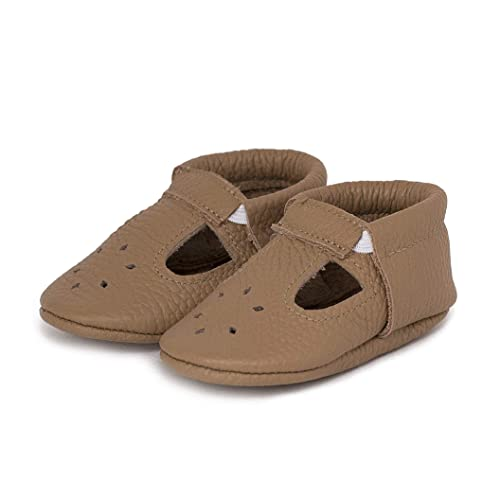 5b207c49868004 LittleBeMocs T-Strap Baby Moccasins (Italian Leather) Soft Sole Shoes Boys  Girls