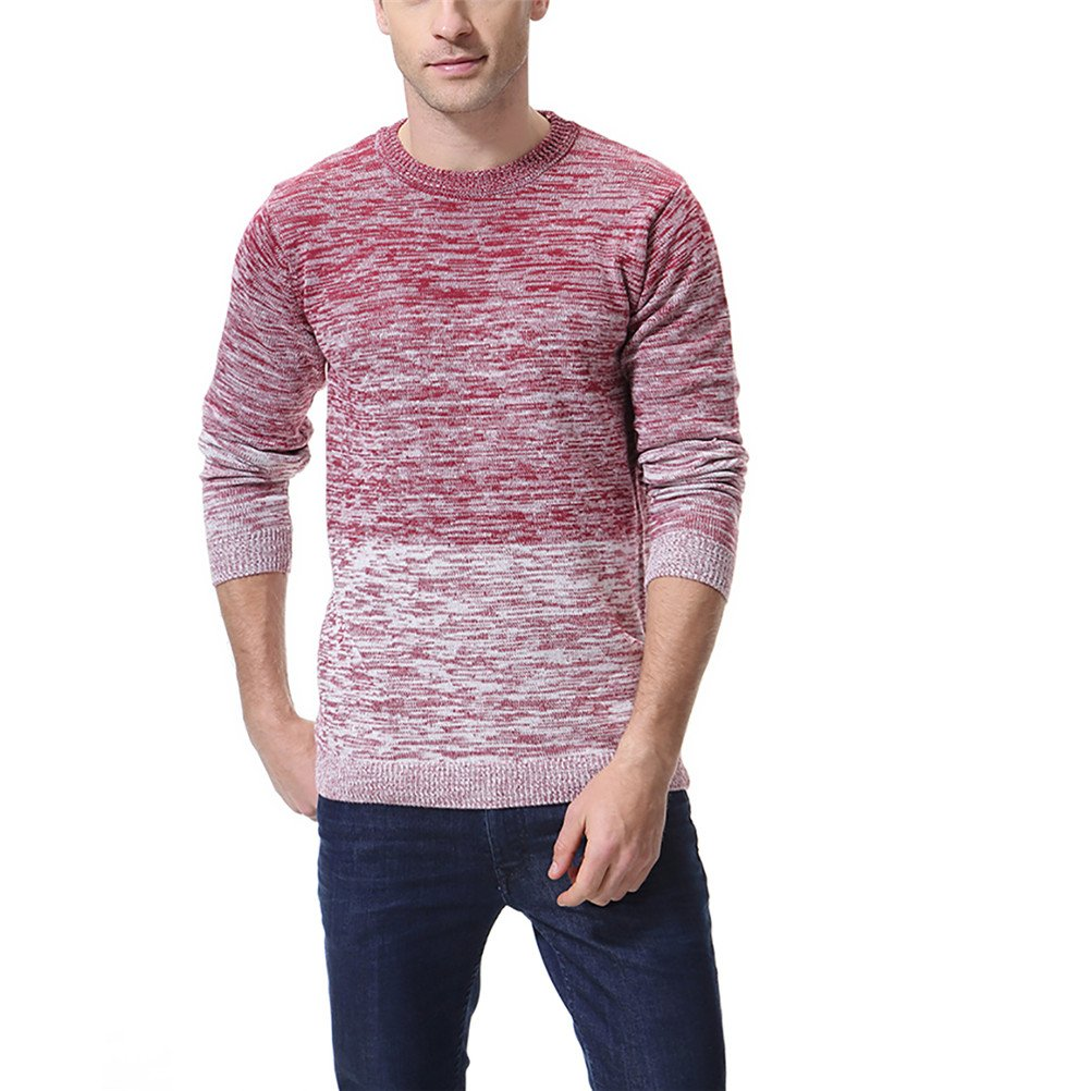 AOWOFS Men's Pullover Knitted Sweater Crewneck Long Sleeve Gradient Color Slim Fit, Red, Medium