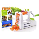 Spiralizer Vegetable Slicer – Zucchini Spaghetti Maker w/Heavy Duty Suction Cup Mount & 30-Spike Ergonomic Crank Handle – BONUS Vegetable Spiralizer Cookbook Ebook – Perfect for Low Carb & Paleo Diet